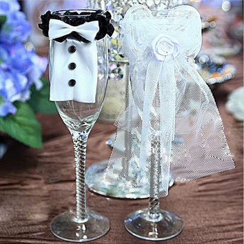 Wedding Decoration Christmas Wedding Party Decoration Couple of Bridegroom Bride Type Wineglass Cover wedding favors gifts