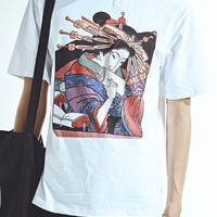 White Japanese Beauty Printed T-shirt