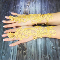 Free Shipping, Gold Wedding Gloves, Fingerloop lace, Bridal cuff, Golden Lace