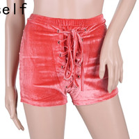 Preself Hot Sale 2016 New Fashion Sexy Women High Waist Lace Up Velvet Bodycon Club Punk Hot Summer Casual Shorts Black/White