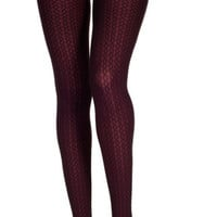 Opaque Tights with Circular Chain Print