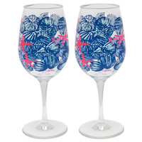 Lilly Pulitzer Wine Glasses Set - She She Shells
