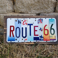 ROUTE 66 Custom Recycled License Plate Art Sign made from license plates from Rt 66 states