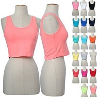 Solid Plain Basic Scoop Neck Low Back Cropped Sleeveless Camisole Tank Top Shirt