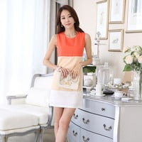 Orange Block Sleeveless Mini Dress