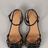 Bamboo Lynna-78 Cut Out Ankle Strap Flat Sandal