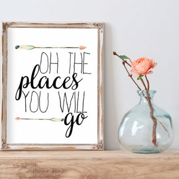 Inspirational Print balloon print Oh The Places You'll Go Teen Room Decor Typographic Quote nursery wall art Positive Art INSTANT DOWNLAOD