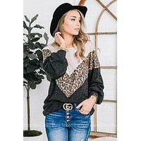Your First Love Leopard Chevron Top