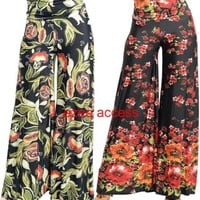 Sexy Women's High Waisted Flare Wide Leg Palazzo Pants Fold Over Hippie S,M,L
