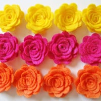 Trendy Felt Flower Rose Bright Sunshine Flower Collection Set of 12 Orange Yellow & Fuchsia
