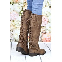 Very Volatile: Marcelina Lace Up Back Boots {Tan} - Size 6