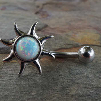 White Fire Opal Sun Belly Button Jewelry Ring
