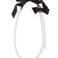 Lanvin Long Pearly Necklace with Black Grosgrain