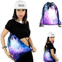 BACKSAC Brand Galaxy Drawstring Backpack Gym School Travel Back Sack