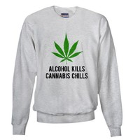 Cannabis Chills Sweatshirt on CafePress.com