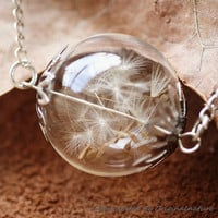 Nature Inspired Jewelry Real Dandelion Necklace Pendant Gift (HM0099-SLIVER)