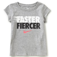 Nike Little Girls 2T-6X Short-Sleeve Faster Fiercer Graphic Tee | Dillards