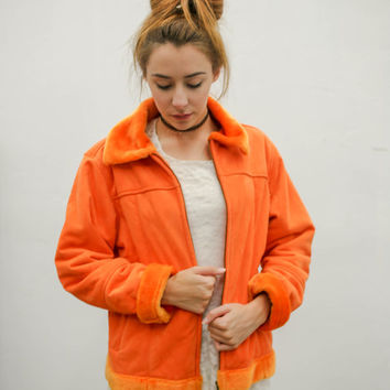 90's orange faux fur jacket, vintage bright colorful suede coat, 1990s ironic vtg tumblr soft grunge vaporwave, urban outfitters