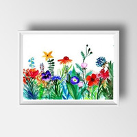 Flower valley watercolor flower painting wall art print poster decor home decal horizontal red colorful floral poster large small 4x6 24x36