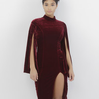 VIVIENNE VELVET SLIT DRESS - BURGUNDY