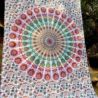 WHITE MULTICOLOR FABRIC Mandala Twin Wall Tapestry Throw Bohemian Hippie Wall Hanging Hippy Bedding Bedspread Ethnic Boho Wall Decorative