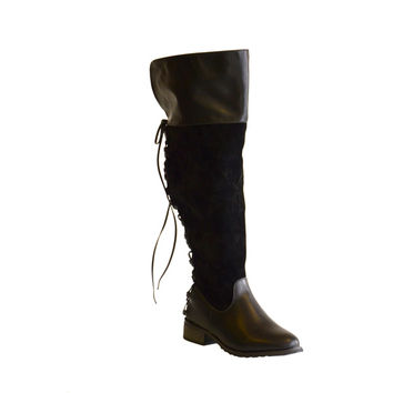 Boots by Pamela Women's Kristi Back Lace up Over the Knee Wide Calf Boots | Overstock.com Shopping - The Best Deals on Boots