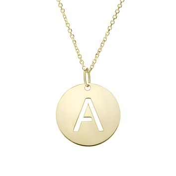 """14k Yellow Gold Initial Letter Round Pendant Necklace, 18"""""""