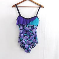 Vintage Retro 80s 90s Blue Purple Rose Print Floral Robby Len Bathing Suit Swimsuit One Piece Medium Size Medium Beach Hipster 1970s Grunge
