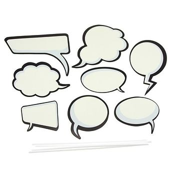 DIY Kid Photo Booth Props, 8-piece, Word Balloons