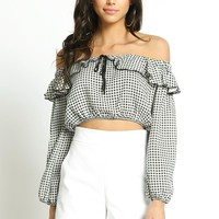 Checkered Off Shoulder Ruffle Crop Top