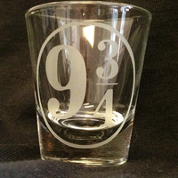 Harry Potter Platform 9 3/4 Inspired Custom Etched Shot Glass Hogwarts Express