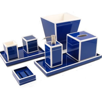 True Blue with White Bath Collection