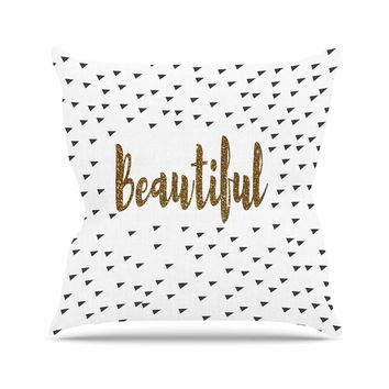 """Suzanne Carter """"Beautiful"""" Gold Typography Throw Pillow"""