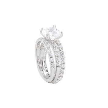 3 Ring Bridal Set-2ct Ring & Two 2mm Wedding Band Sterling Silver Cubic Zirconia