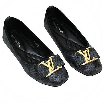 LV tide brand female classic chess board wild casual shoes Black