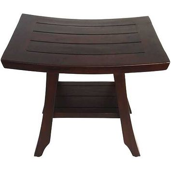 Compact Curvilinear Teak Shower / Outdoor Bench with Shelf in Brown Finish