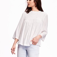 Lace-Front Banded Collar Blouse