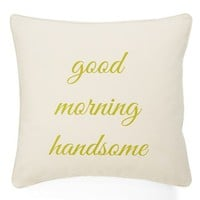 Levtex 'Hey There Beautiful/Good Morning Handsome' Reversible Decorative Pillow