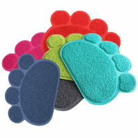 30cm x 40cm Pet Placemat Dog Paw Shape Pad Mat Placemat Pet Cat Dish Bowl Feeding Food PVC Mat Color send at Random