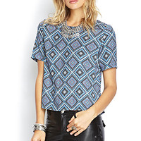 FOREVER 21 Boxy Ornate Geo Top