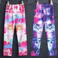 Cute Cat Printed Kids Girls Childs Clothes Pants Childs Leggings Trousers 2-7Y