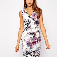 Lipsy VIP Pencil Dress in Winter Floral Print at asos.com