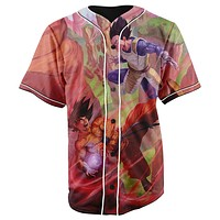 Goku Versus Vegeta Dragon Ball Z Button Up Baseball Jersey