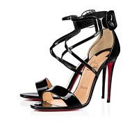 Cl Christian Louboutin Choca Black Patent Leather 18s Sandals 1181112bk01