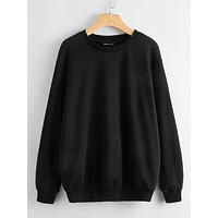 SHEIN Drop Shoulder Solid Sweatshirt