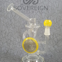 Inverted Showerhead Recycler Oil Rig with Yellow Accents