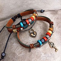 Leather Bracelets for Couple- Key To Heart