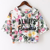 Always Flawless Floral White Crop Top