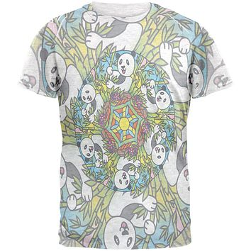 Mandala Trippy Stained Glass Panda Mens T Shirt