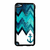 Chevron Navy Anchor Sparkly iPod Touch 5th Generation Case